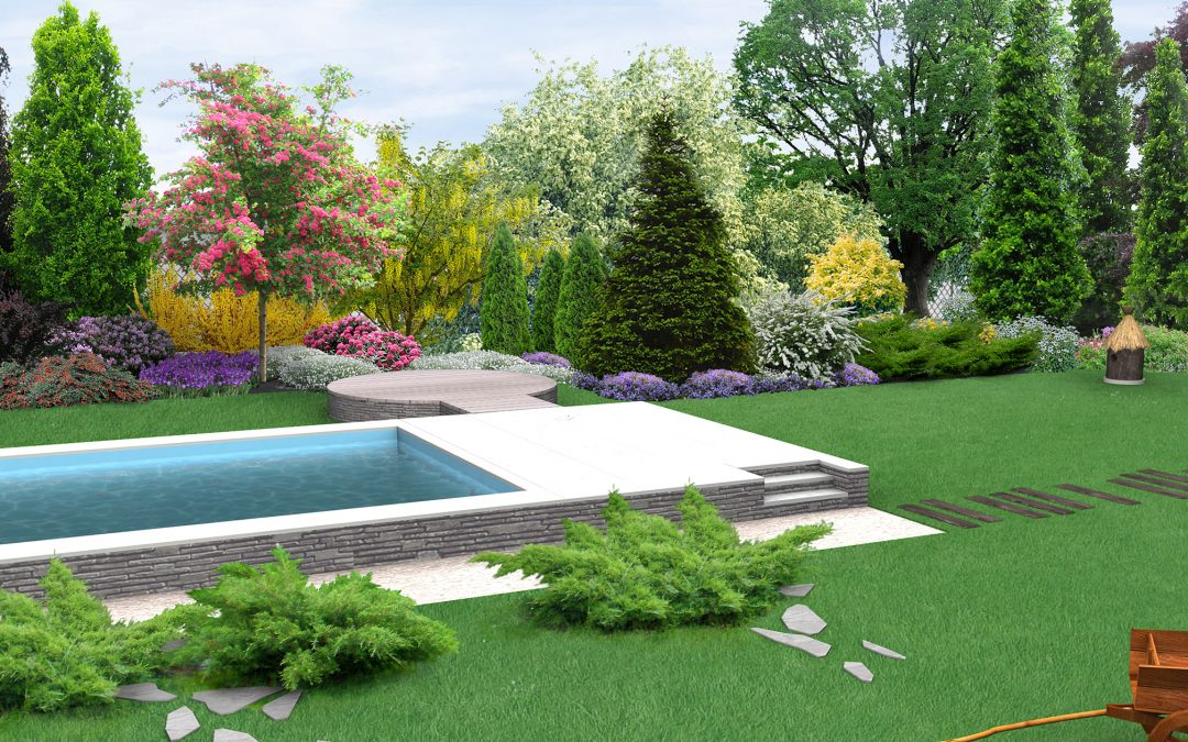 Landscaping and pool design 3D rendering
